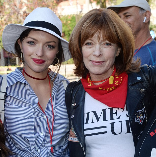 Francesca Eastwood and Frances Fisher at Women's March 2018 Los Angeles