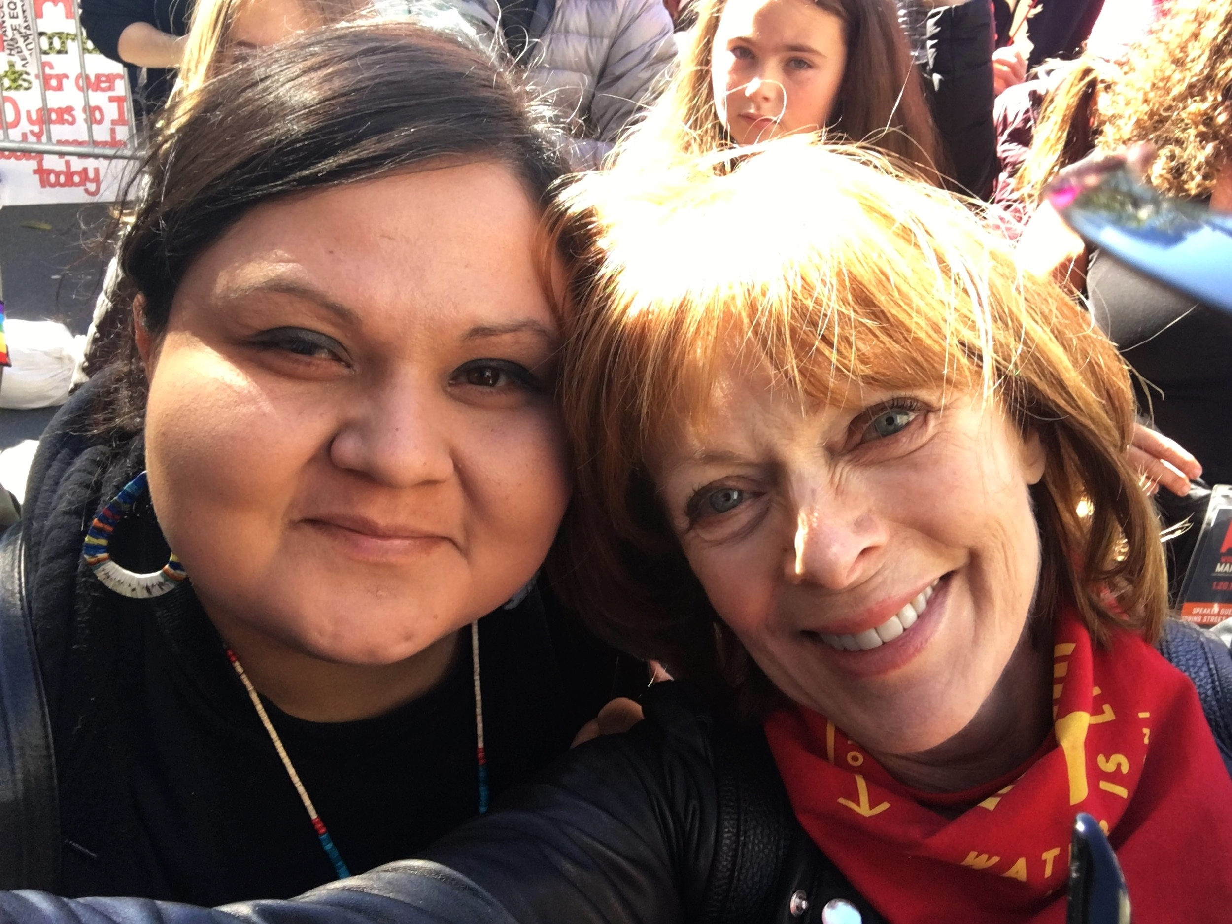 SiouxZandFrances Fisher at Women's March 2018 Los Angeles