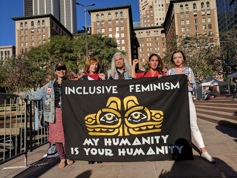 Inclusive Feminism:Irene Bedard, Frances Fisher, Walter Ruiz, Q'orianka Kilcher and Francesca Eastwood, Los Angeles Women's March 2018
