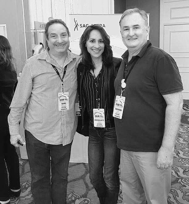 Michelle Bonilla, Marc Geschwind, Richard Hadfield mingling at The #SAGAFTRAconvention.jpg