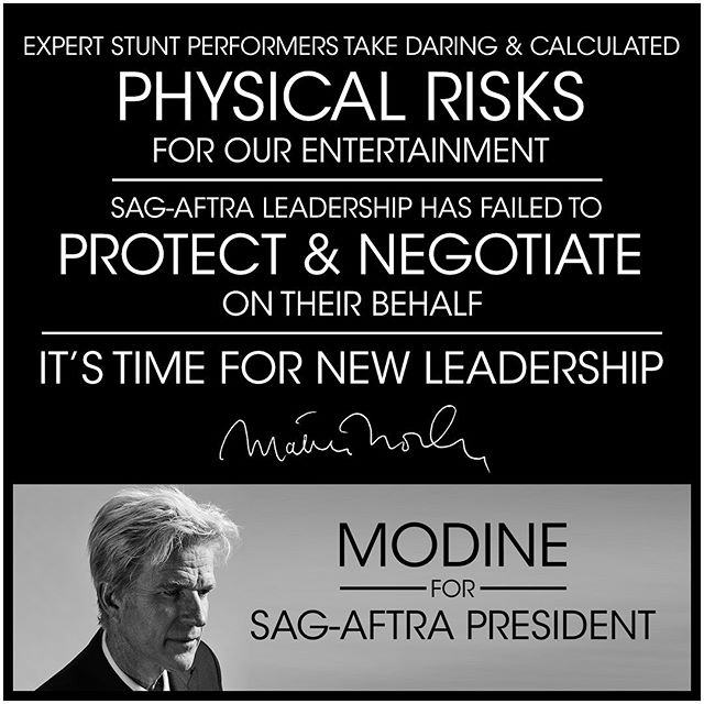 """Expert Stunt Performers take daring and physical risks for our entertainment. #SAGAFTRA leadership has failed to protect & negotiate on their behalf. It's time for new leadership."" - Matthew Modine @matthewmodine @sagaftra #artistsunited @membershipfirst #matthewmodine . . . . #matthewmodine #hollywood #movie #film #cinema #television #tv #filmmaking #actor #acting #stunt #cinema #election #sagaftra #performers #strangerthings #fullmetaljacket #batman @sagaftra  #membershipfirst #artistsunited #stuntperformers #backgroundperformers #union #unionstrong #solidarity"