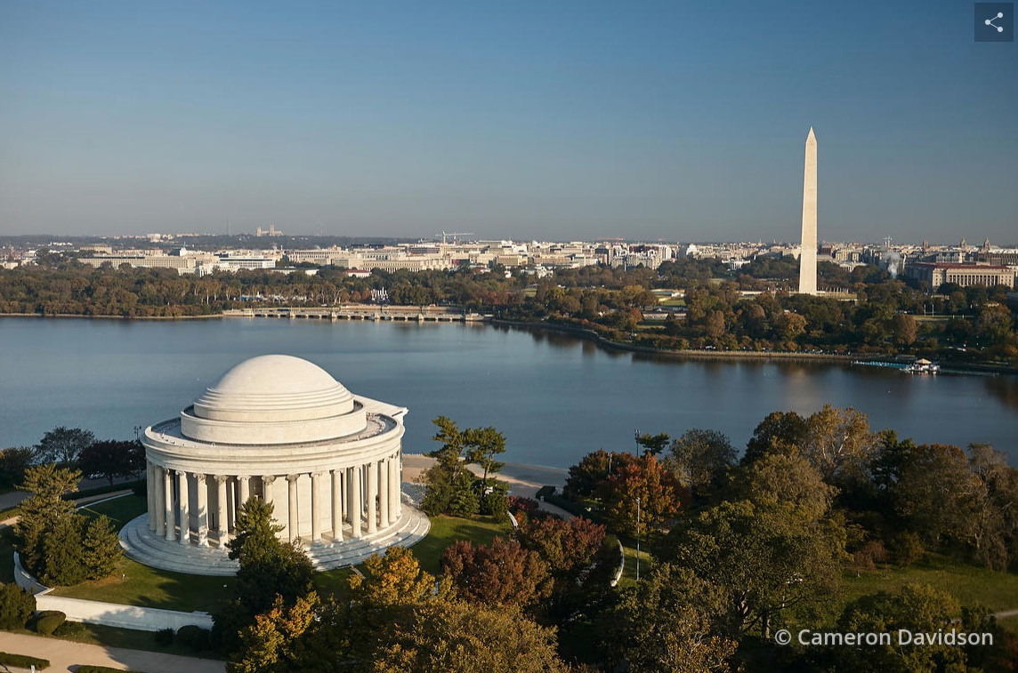 Aerial photograph of the Jefferson Memorial in Washington, DC