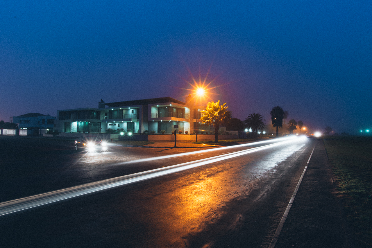 Waterfront street in Walvis Bay. Compare this street with the street in the location