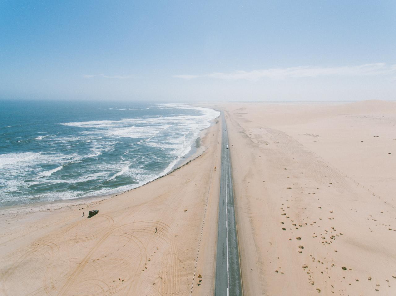 The Namibian desert meets the Atlantic ocean. Swakopmund