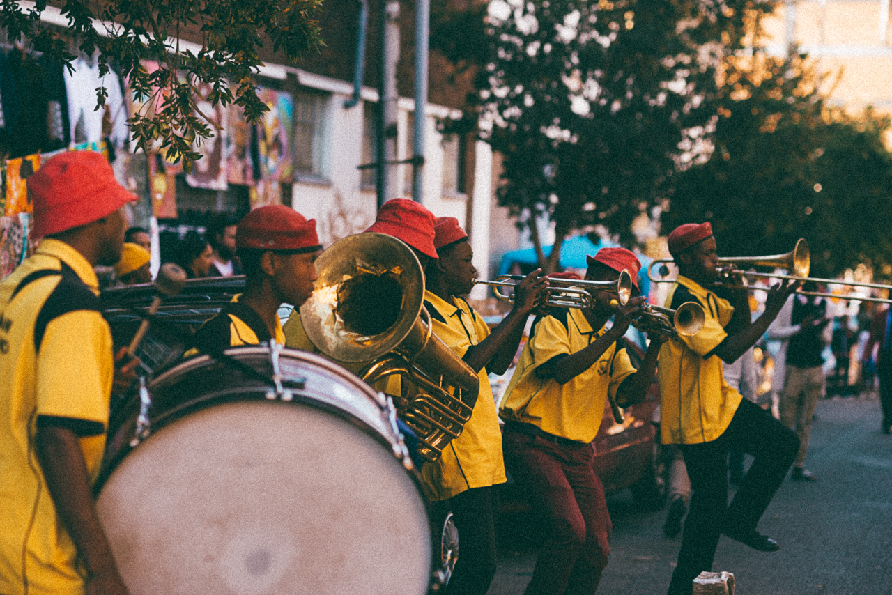 Found a marching band playing amazing music in Maboneng. Stopped all traffic
