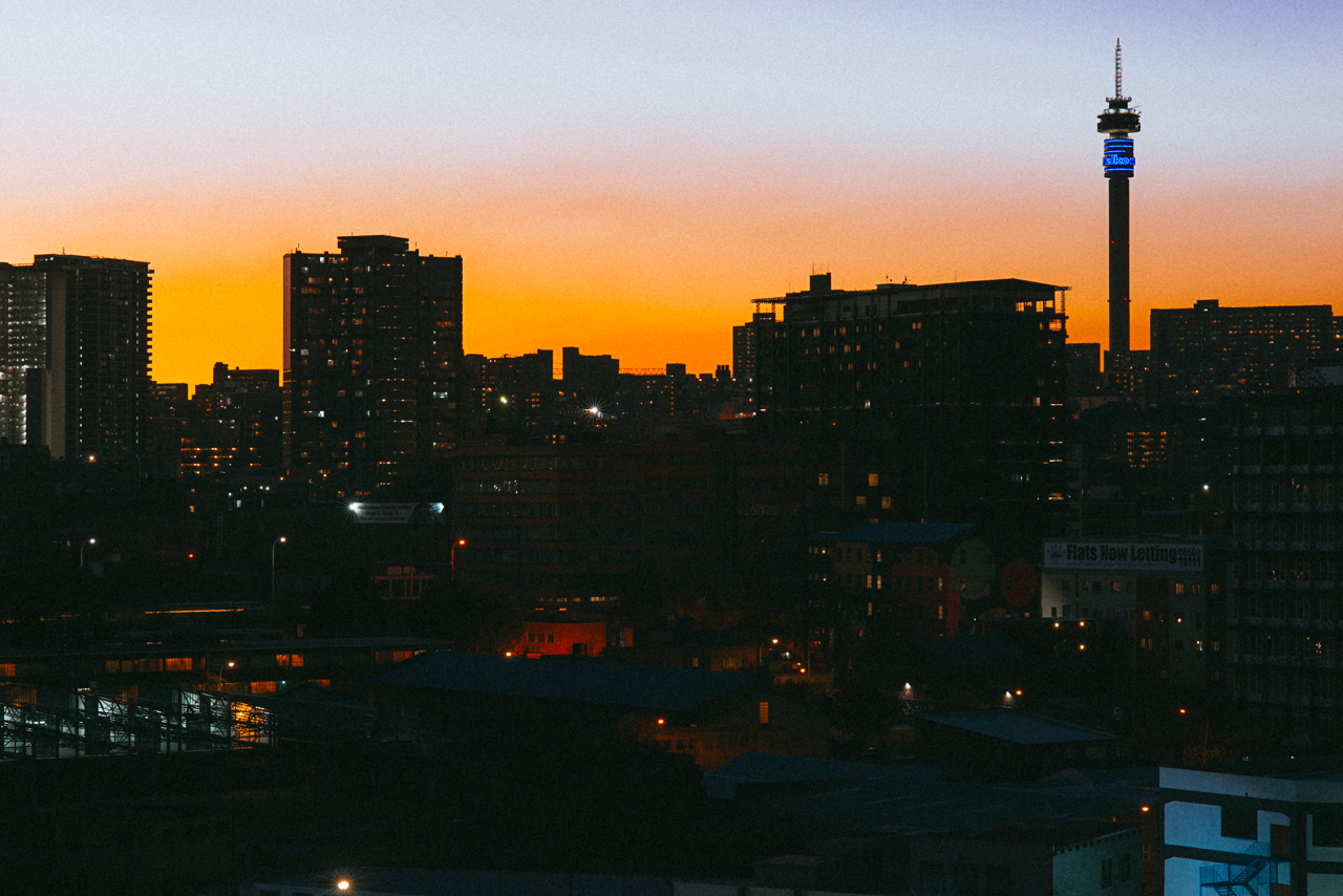 Joburg skyline at dusk