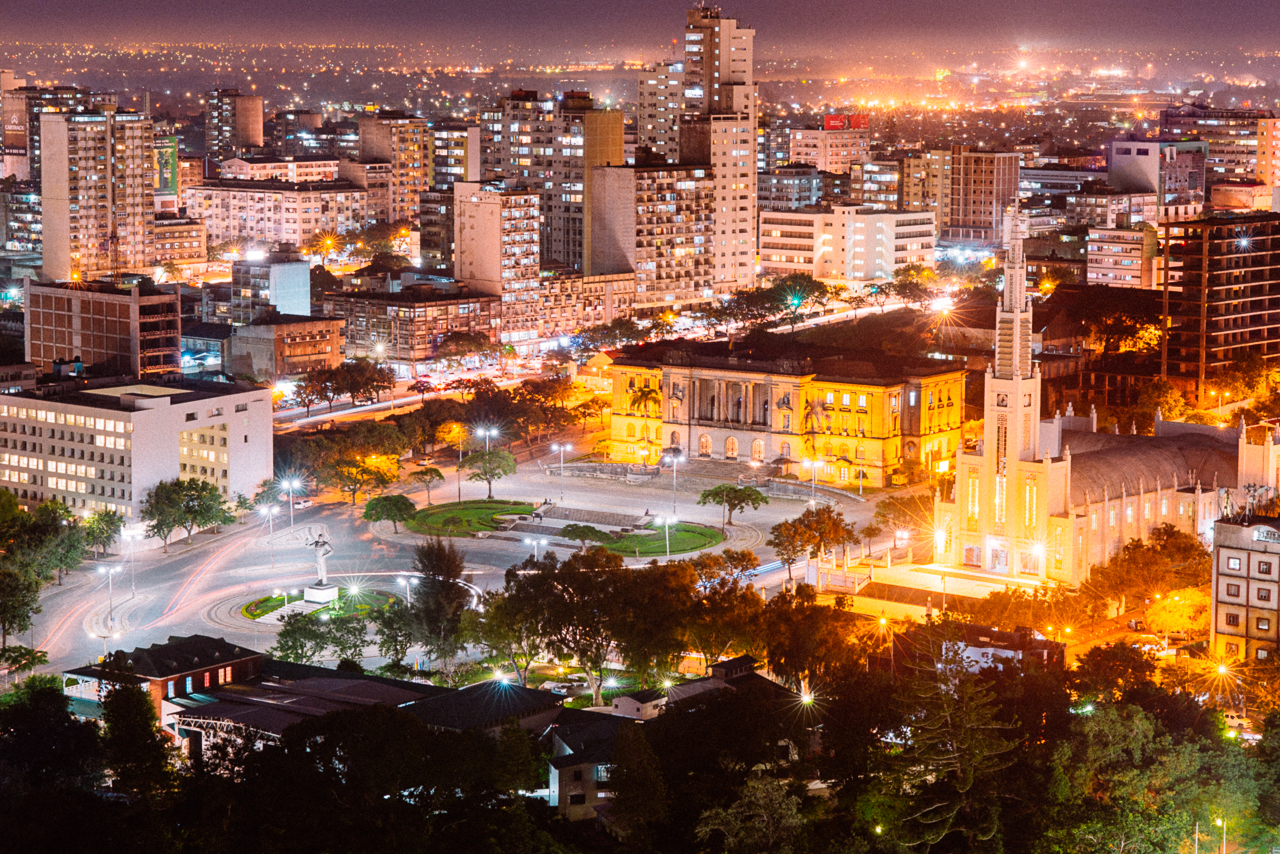 Aerial view of Maputo showing the Independence Square with the statue of Samora Machel