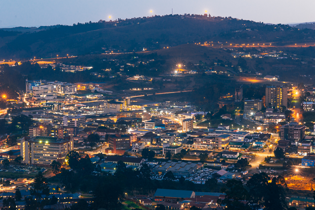 Aerial view of Mbabane from a nearby hill. Got rained on while shooting these