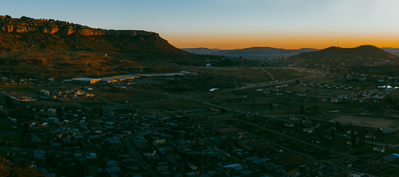 Aerial view of Maseru from one of the hills around