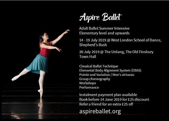 Venue update! We're going to be at West London School of Dance at Shepherd's Bush for Sunday to Friday 14-19 July, then finishing off in the Great Hall at The Urdang, The Old Finsbury Town Hall on 20 July.  More info at https://www.aspireballet.org/summer-2019 £25 discount available until 14 June. More discount if you refer a friend too. Partial course options available, DM me!  #ballet #retreat #adultballet #adultballetintensive #EBAS #DanceForAWeek #SummerBalletFun
