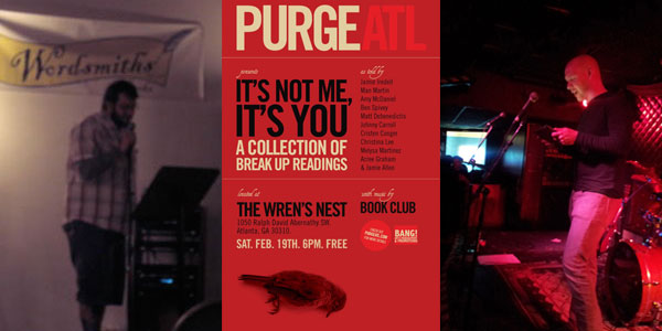 Left to Right: Matt's first reading | Purge Reading Poster (John's first reading hosted by Matt) | John reading at the Star Bar Circa 2012