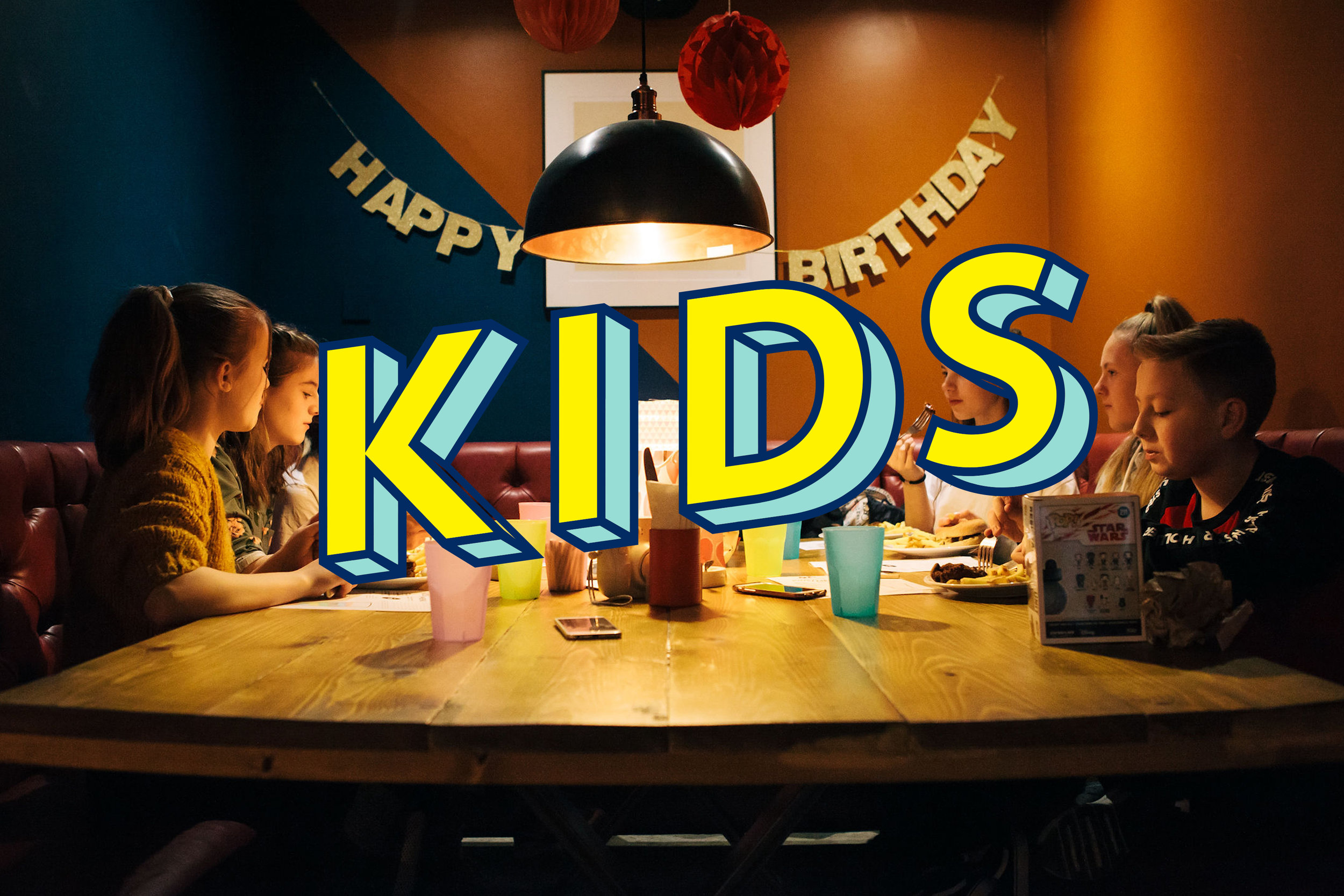 KIDS PARTY / £12pp  A game of bowling, Kids Main, Ice Cream & Unlimited Cordial.  We reserve and decorate a booth for your party. Bring your own cake. Anytime before 7pm.   Click here  to view our Kids Menu.   Book Now.