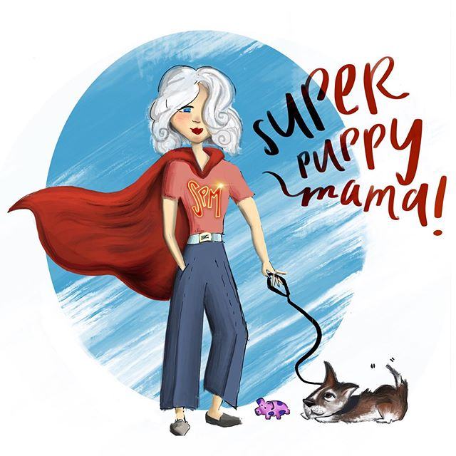 SUPER (protective) PUPPY. MAMA. This doodle isn't the best, 😂 but this has been my main role this week after my dog was bit in the neck by a husky. I feel SO terrible that it happened that I've been loving on him extra hard and just so thankful he's ok. He's always comforting me when I'm in pain with my EDS. What's your super power this week? LOL happy Saturday from my doodling self... ❤️ #illustrator #illustrationsofinstagram