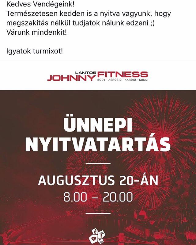 Hogy zavartalanul tudjatok nálunk edzeni, ezért augusztus 19én 6.00-22.00óráig vagyunk nyitva 🙃😎