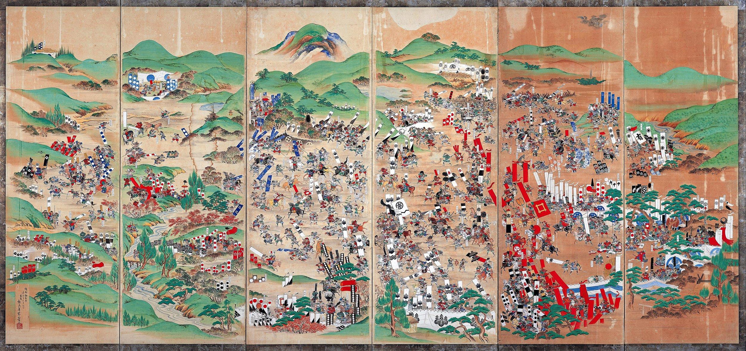 Sekigahara Kassen Byōbu  , Japanese screen depicting the Battle of Sekigahara. This 1854 replica recreates the original  Hikone-jō Bon Sekigahara Kassen Byōbu  by Sadanobu Kanō from the 1620s.