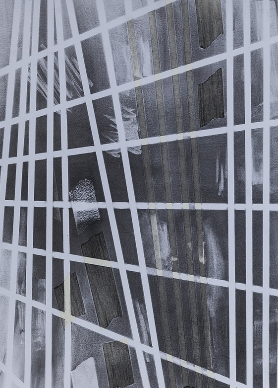 Window on the World IV, Charcoal & Tape on Paper