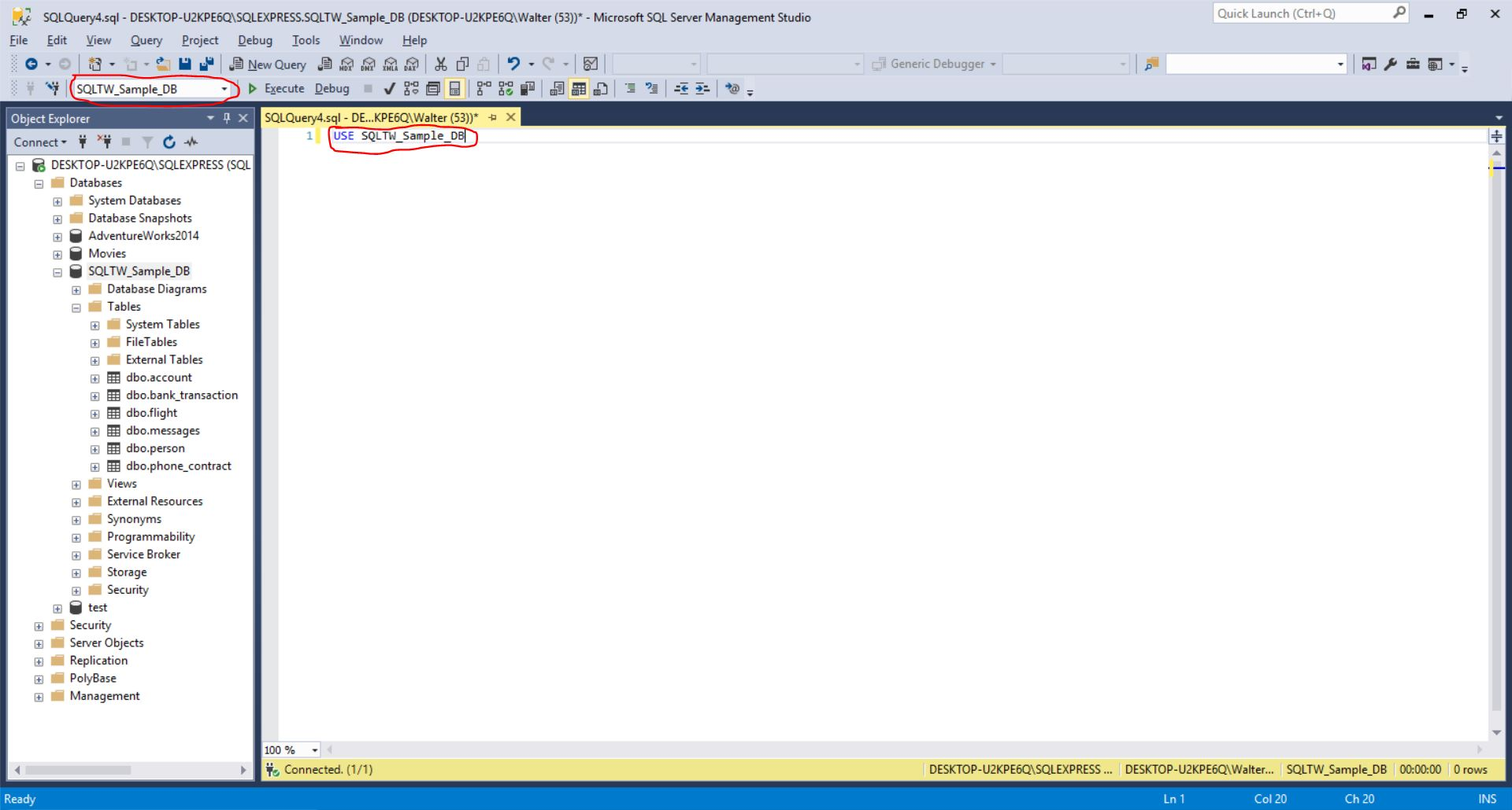 Associate your query with the SQLTW_Sample_DB