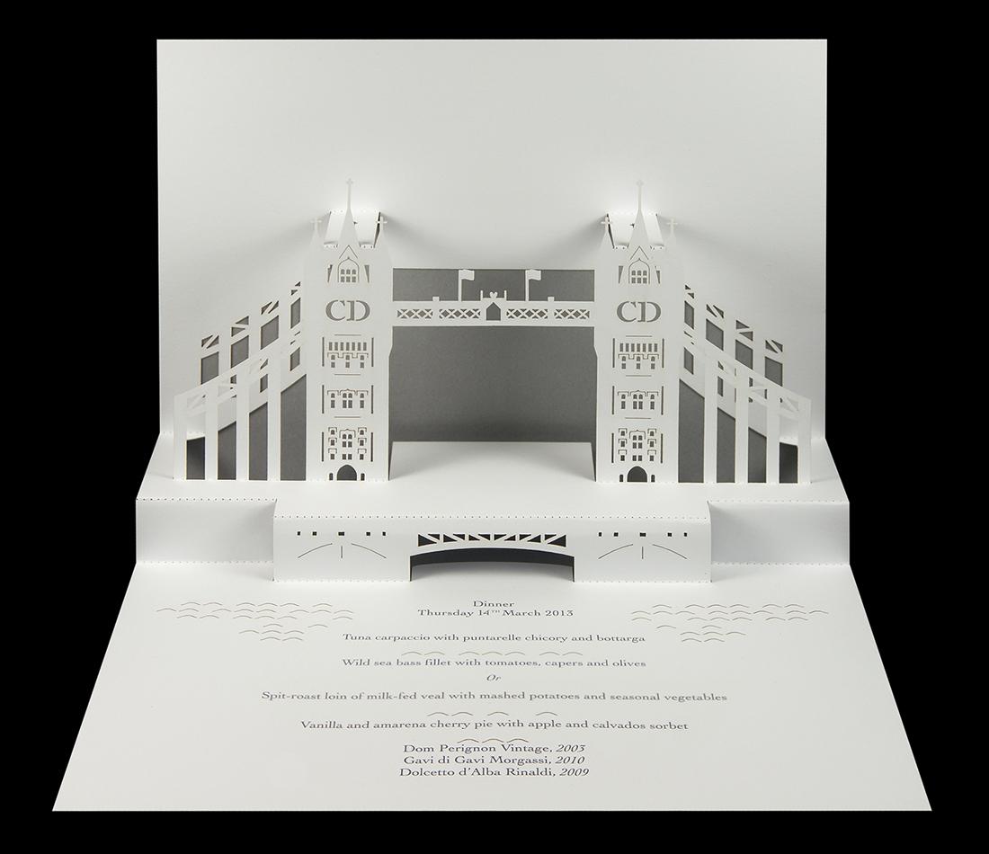 Harrods Tower Bridge Pop-Up Menu.