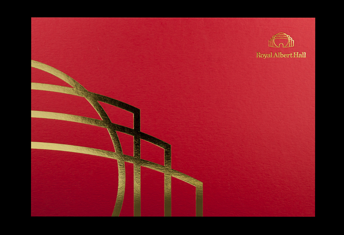 Front cover gold foiled onto textured red card