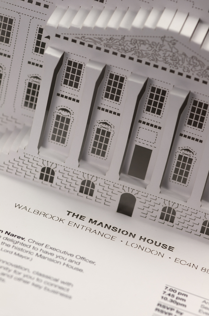 Detail shot of The Mansion House facade.