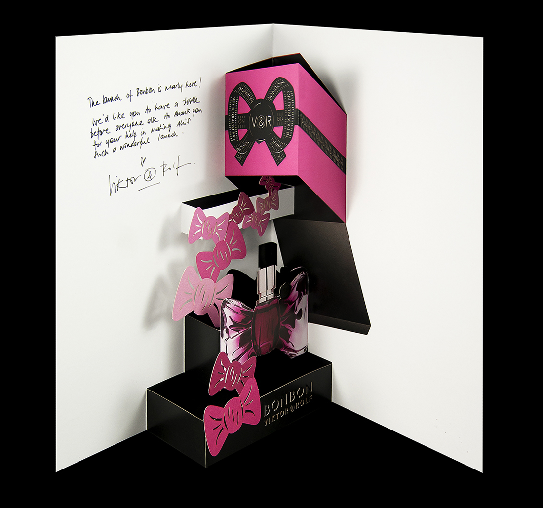 BonBon perfume promotional launch layered pop-up card.
