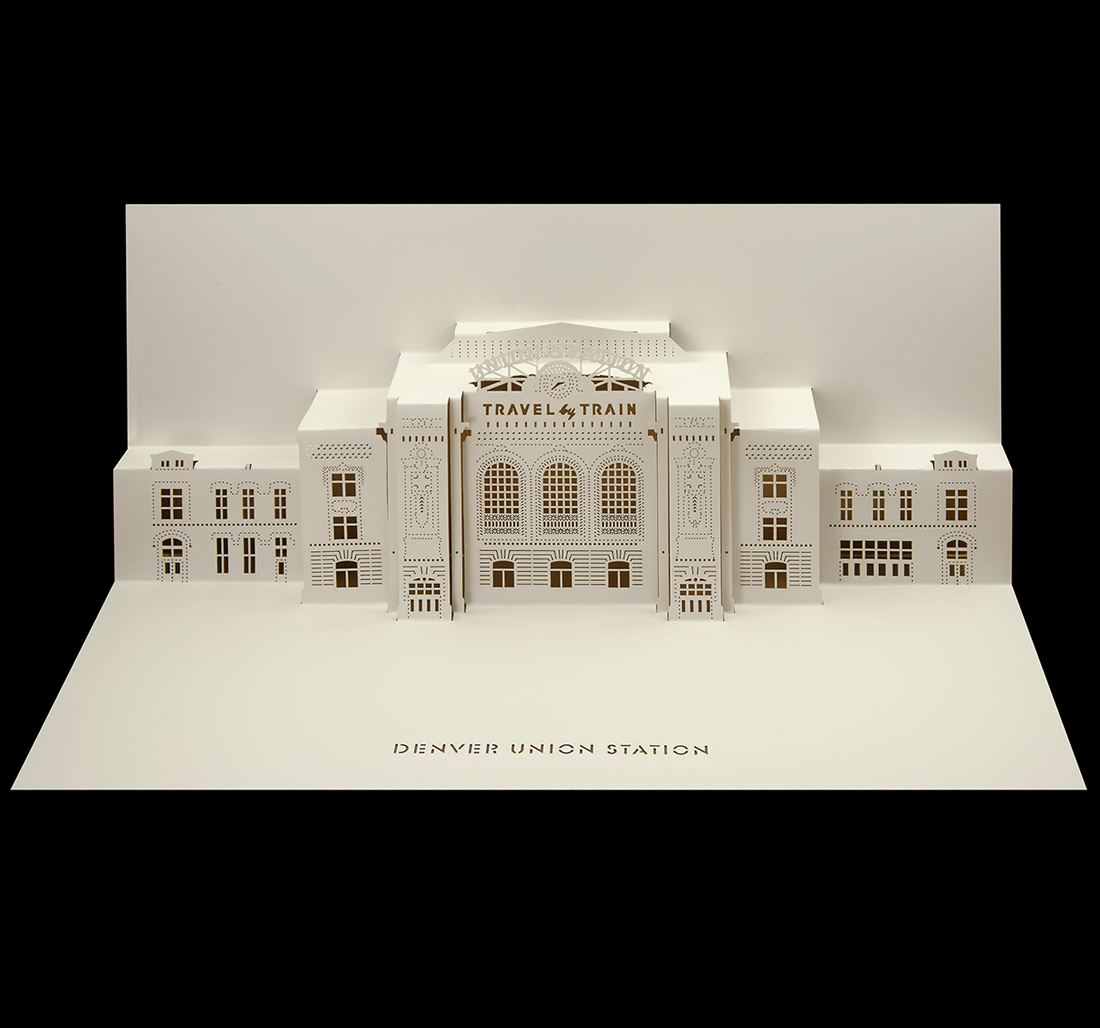 Denver Union Station pop-up Christmas card.