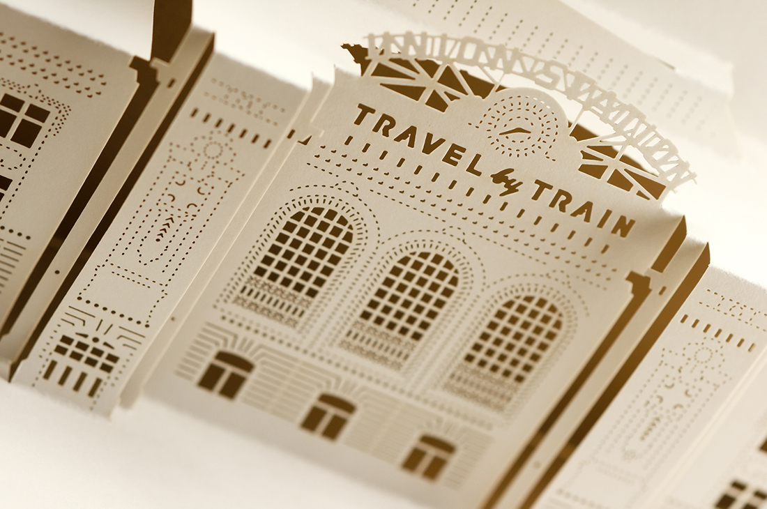 Detail shot of laser-cut text and architectural detailing.