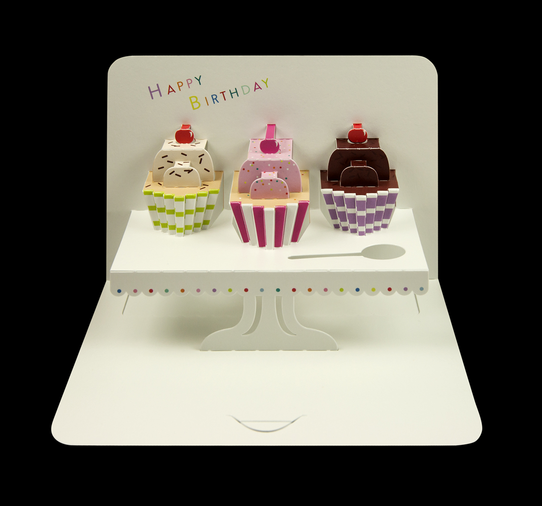 Illustrative 'Happy Birthday' cupcakes pop-up card