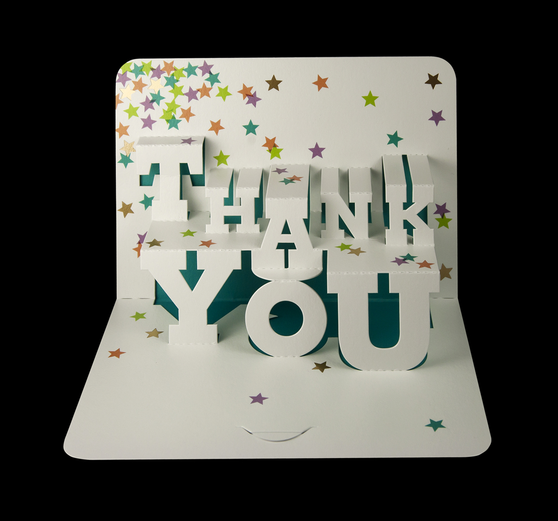 Typographic 'Thank you' pop-up card