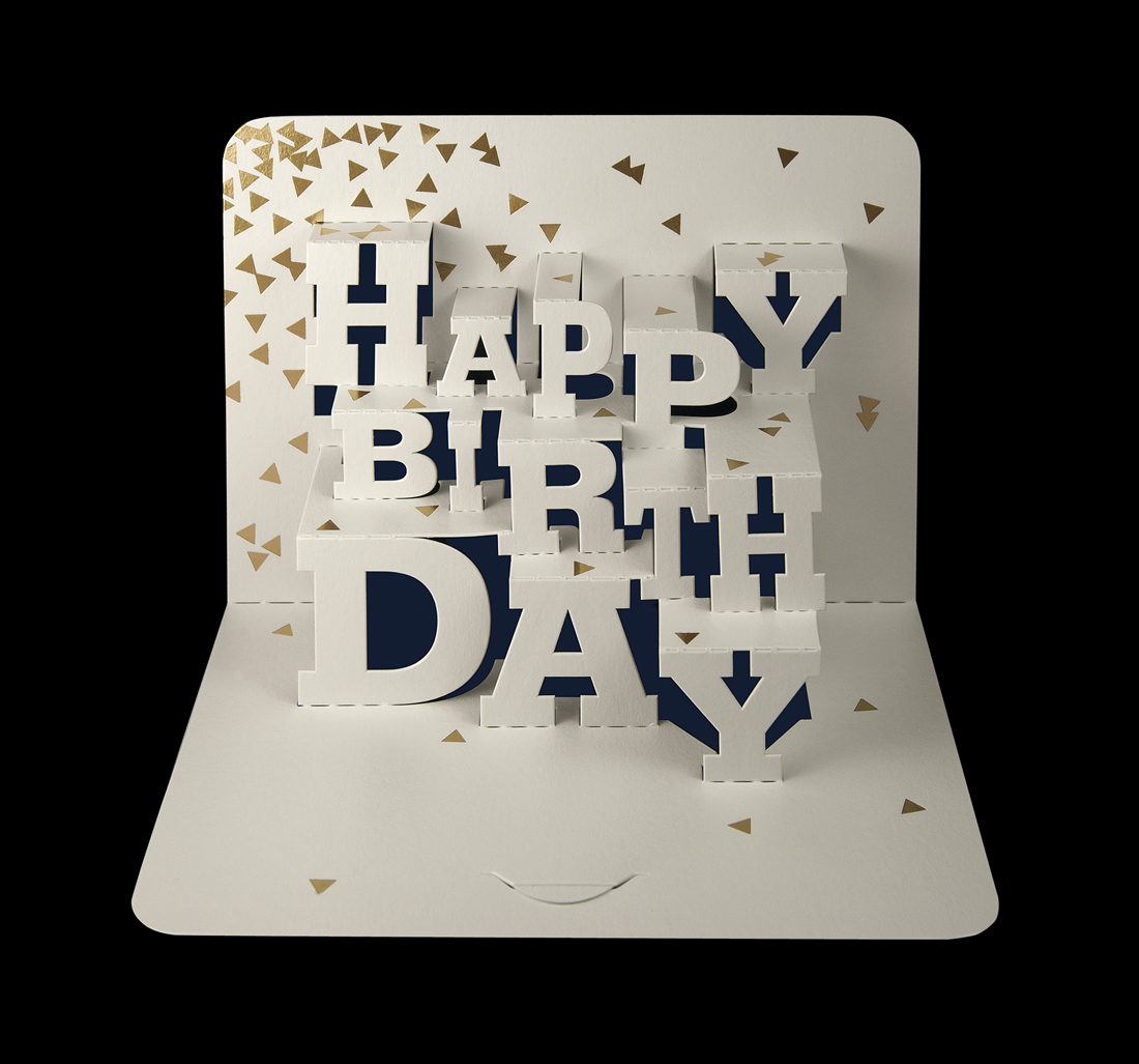 Typographic 'Happy Birthday' pop-up card