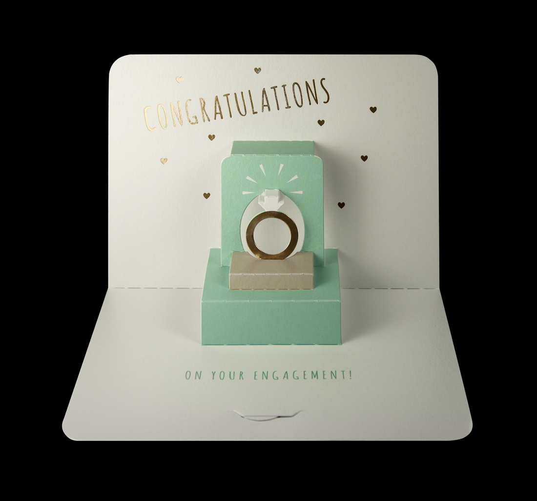 Illustrative 'Congratulations' ring pop-up card