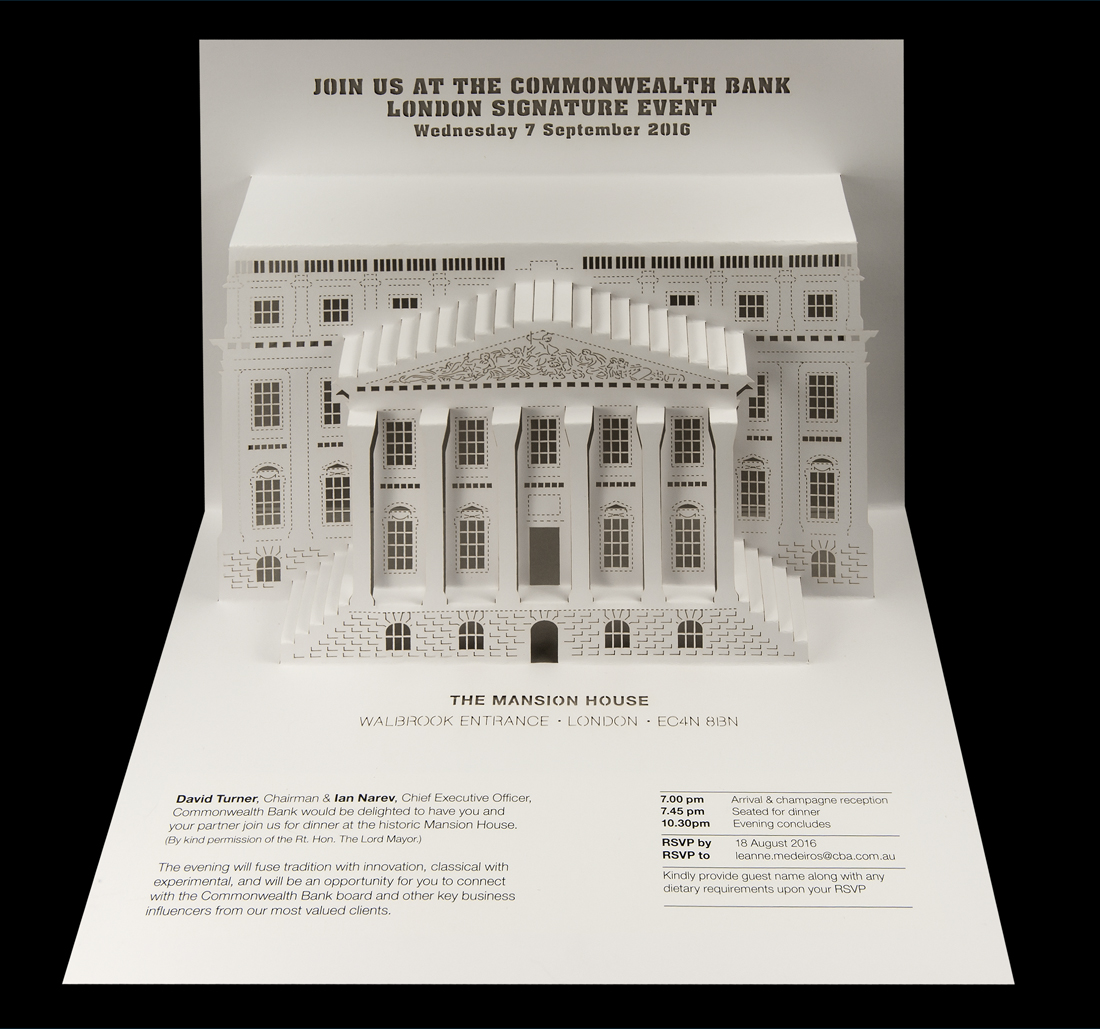 Commonwealth Bank - London Signature Event pop-up invitation