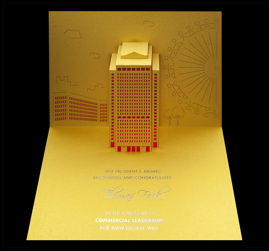 Pop-up award cards featuring the Shell London headquarters building.