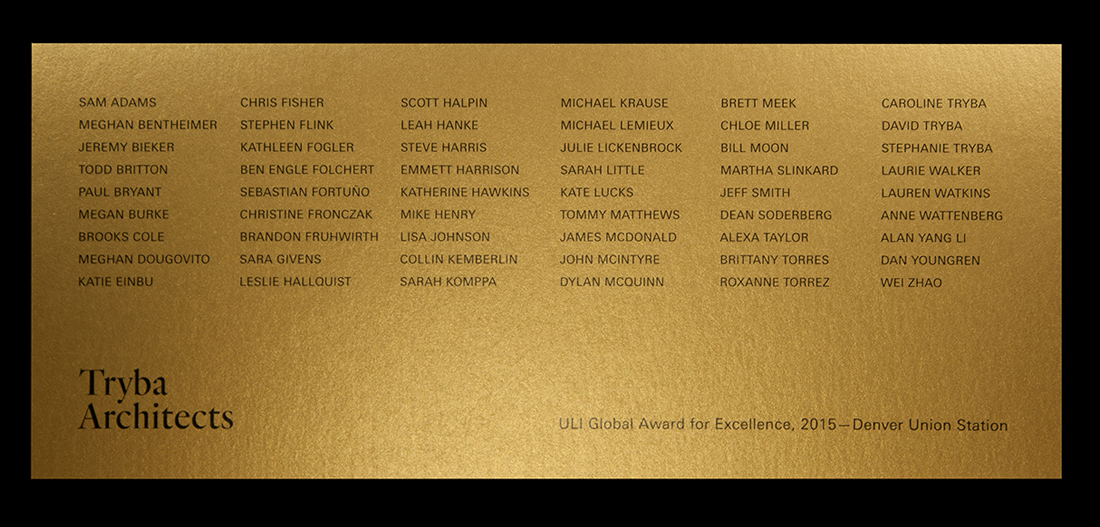 Digital print black onto pearlescent gold card.