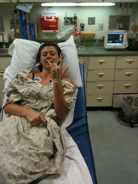 In the Emergency Room after a reaction to the medication I was taking to treat salmonella.