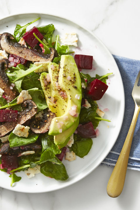 Beet, Avocado & Mushroom Salad...so good! -  Click on link below for the recipe.http://www.goodhousekeeping.com/food-recipes/a43225/beet-mushroom-avocado-salad-recipe/