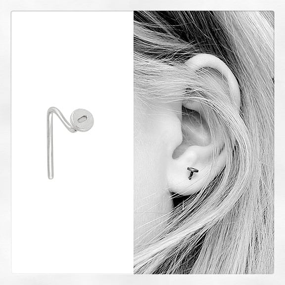 This is how nail earrings actually look being worn. A simple illusion trick! #iamamagician #howtowear #studearrings #shopindependent