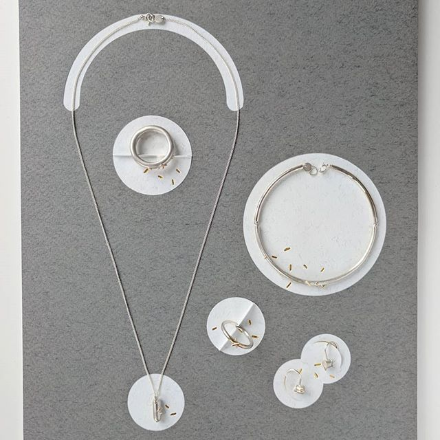 "I was working on these new silver and 9ct gold pieces up until the day our baby arrived. Hopefully will be able to post more soon! Working title ""Pollen"" 🐝 #handmadejewellery #pollen #newwork"