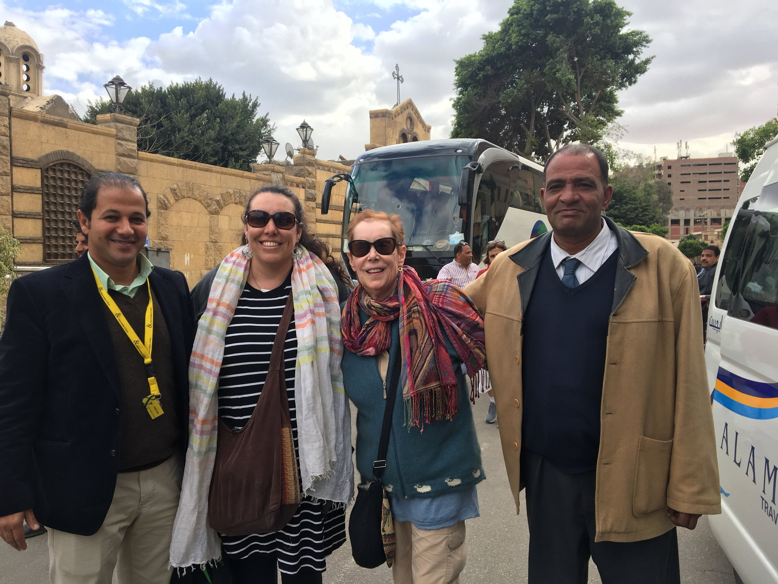 Carolynn Witherspoon and Catherine Armbrust with their driver, Aziz, and their guide,Ahmed, in Cairo.