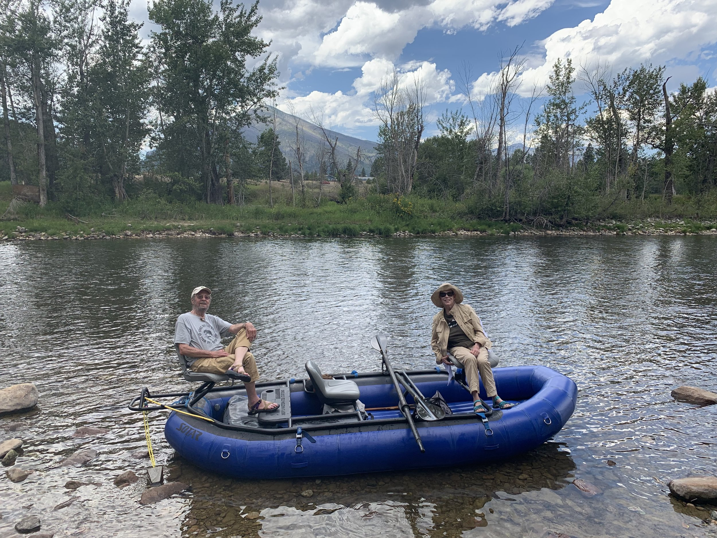 John & Carolyn Witherspoon on a guided Bitterrroot River float in Montana.