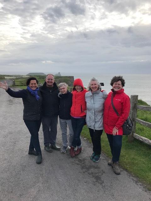 Ellison Poe, Tim Stevens, Susan May, Tina Obermeier, Murry Newbern, and Emily Parke Stevens in Wales.