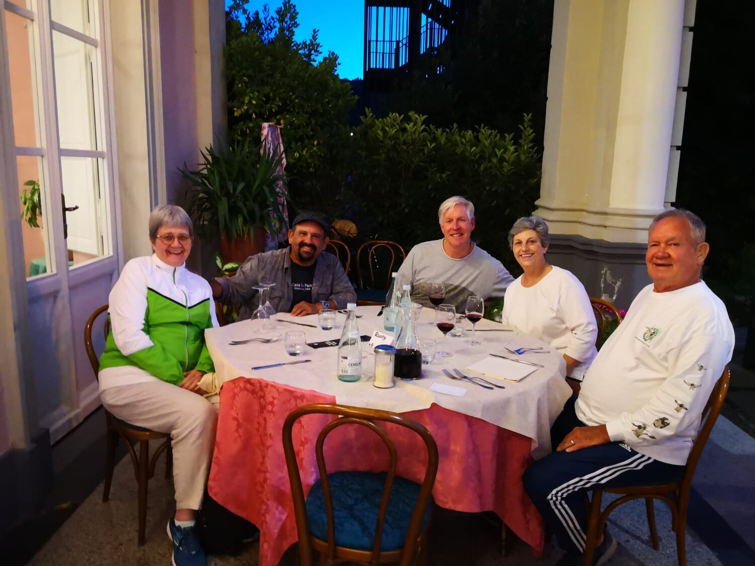 Virginia and Mike Owen with Pepper and Rusty at Casa La Pace , Ghivizzano Italy, September, 2019.