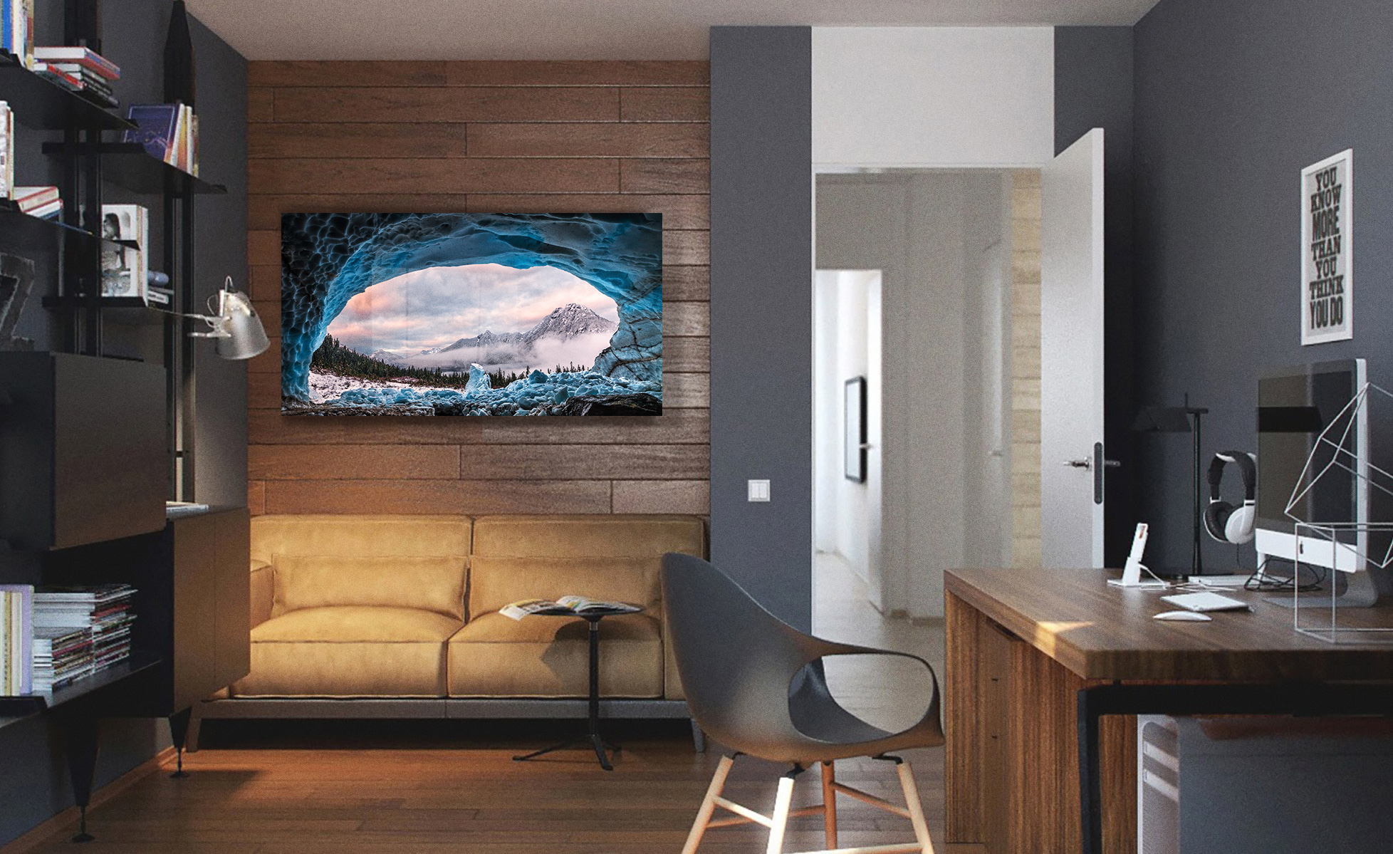 Ice Cave With A View in a home office