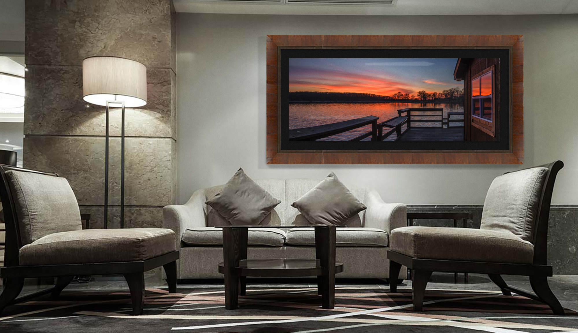 Lake Ahquabi hanging on the wall in a lobby