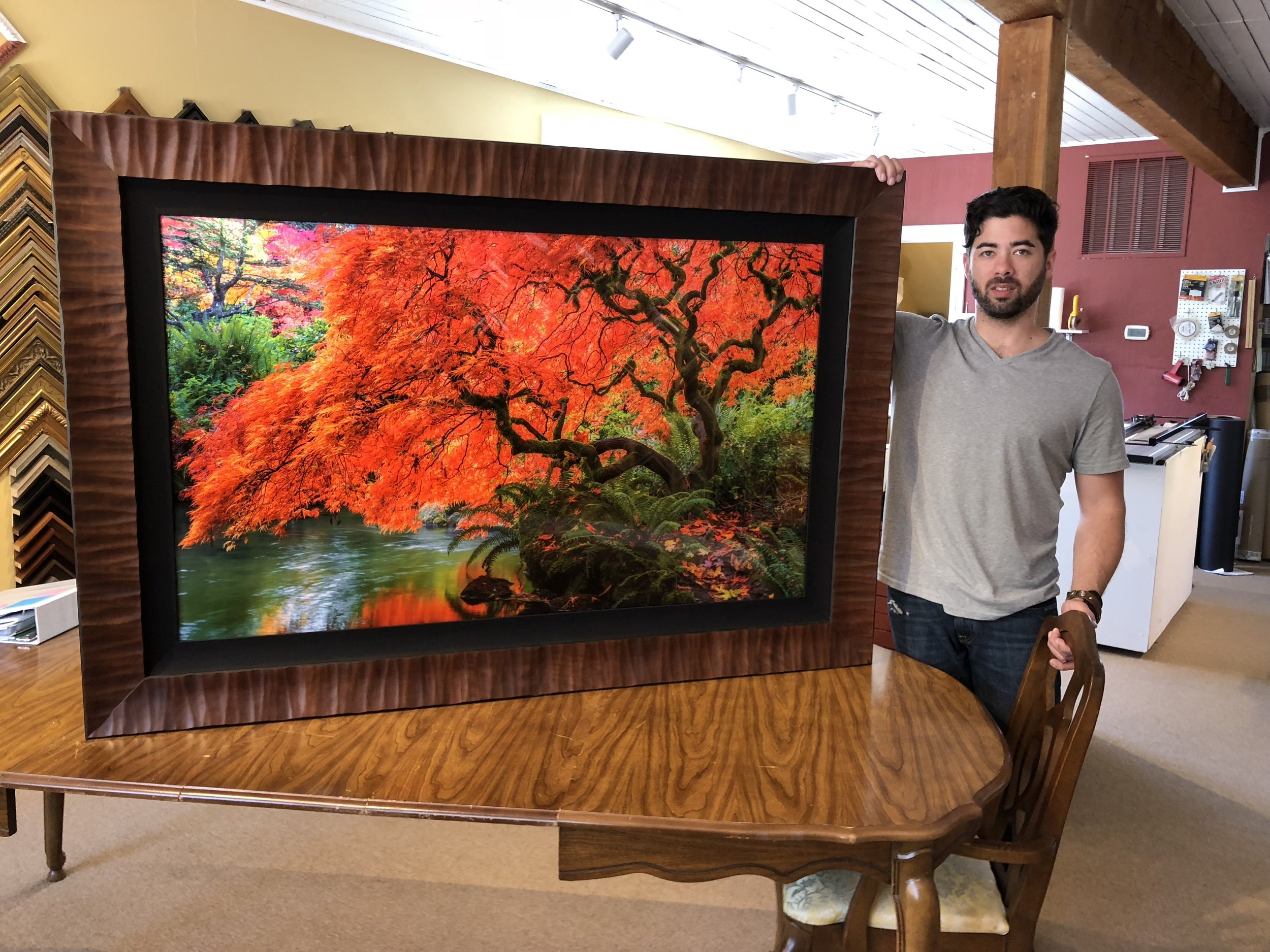"30x50 Tree of Fire framed in a 4"" cognac Fotiou Anthracite frame and 3"" liner"