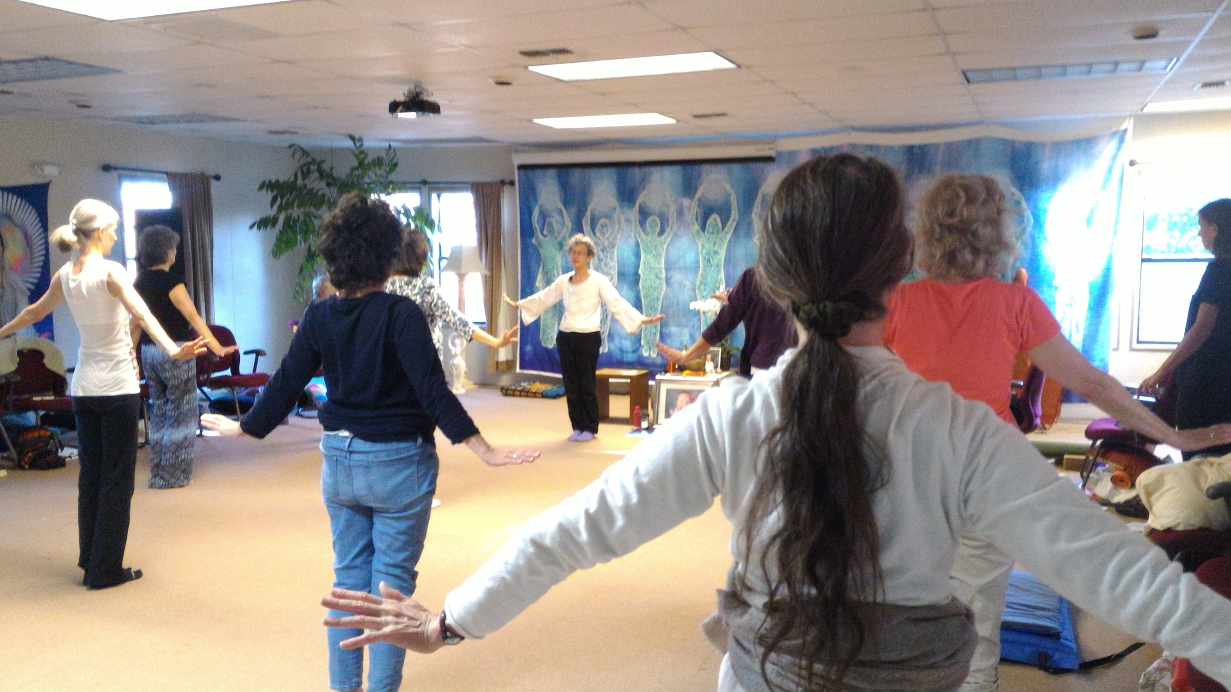 Denise leading a Morning Qigong Practice of Chen Chi at a Wisdom Healing Qigong Retreat at EarthRise IONS in Petaluma, CA.