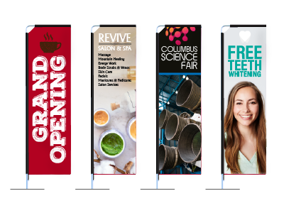 Rectangle Flags - Versatile outdoor flag banner with easy to assemble aluminum pole set.