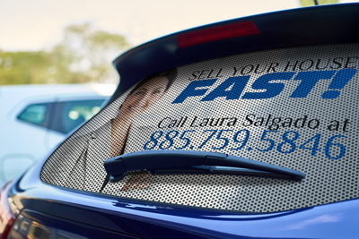 Perforated Vehicle Decals - Our perforated decals let you see out but block others from seeing in.