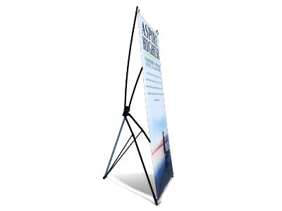 X-Stands - A quick and easy set up and display of a vinyl banner.