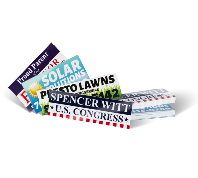 Bumper Stickers - Available in 100lb Gloss Book, 14pt, or 16 pt paper. Multiple sizes, coatings, and cut options.